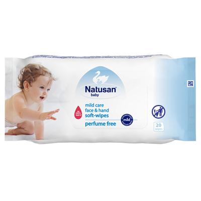 Nautsan® Mild Care Face & Soft Hand Wipes -puhdistuspyyhkeet pumpulinpehmeälle iholle