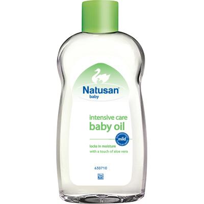 Natusan® Intensive Care Baby Oil kosteuttaa vauvasi ihoa heti kylvyn jälkeen